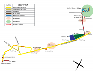 Map from Hoshiarpur to Osho Silence Valley in English