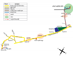 Map from Hoshiarpur to Osho Silence Valley in Hindi