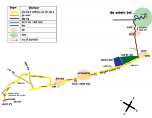 Map from Hoshiarpur to Osho Silence Valley in Punjabi